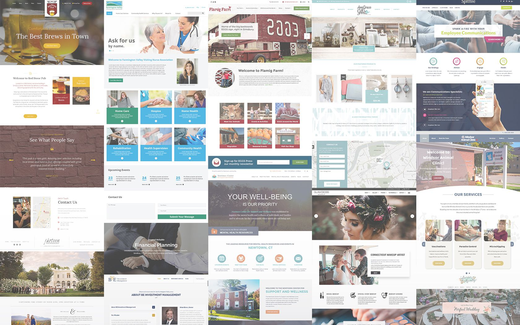 Collage of client websites