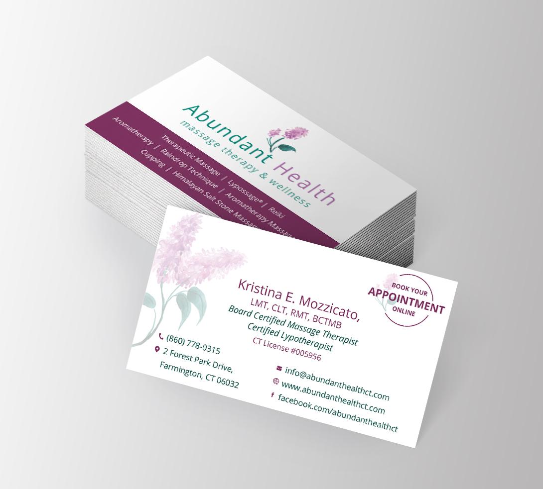 abundant health massage business cards pixel and code studio - Massage Therapy Business Cards